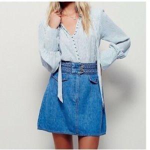 Free People Braided Baby Denim Skirt NWOT Size 4
